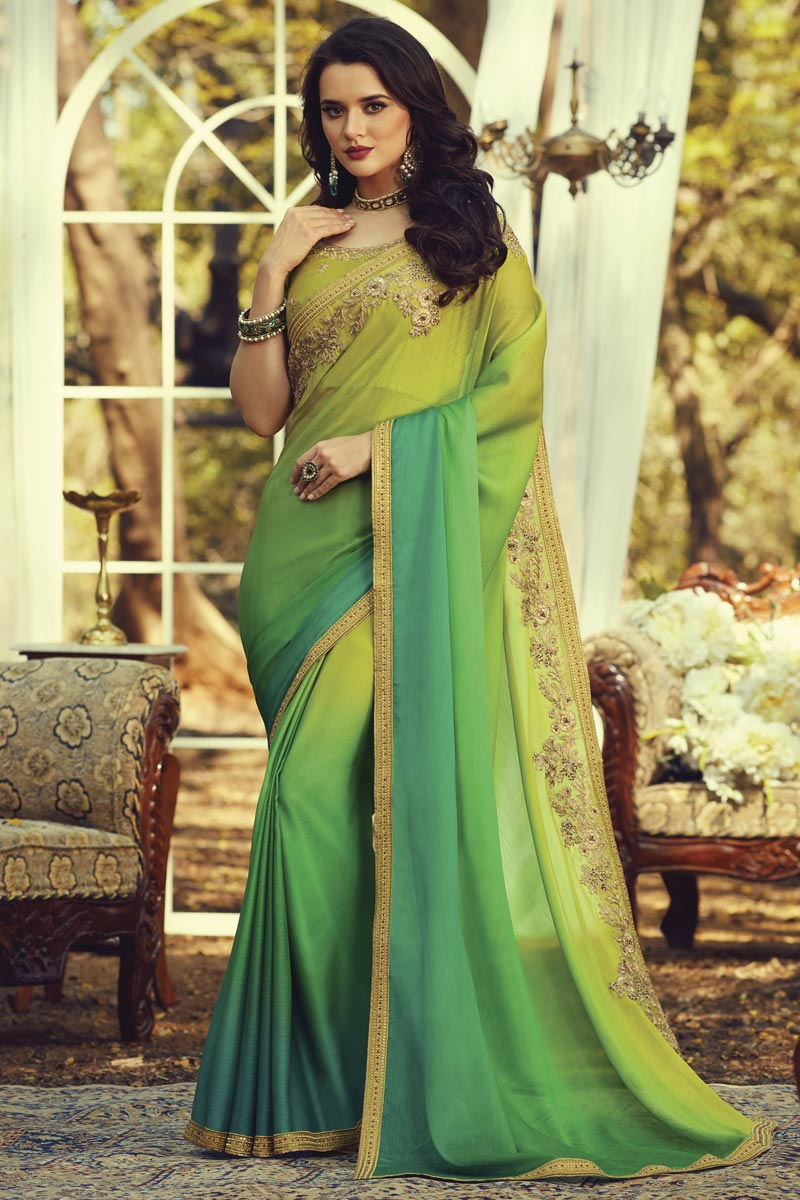 Party Style Fancy Art Silk Fabric Sea Green Color Saree With Embroidered Blouse