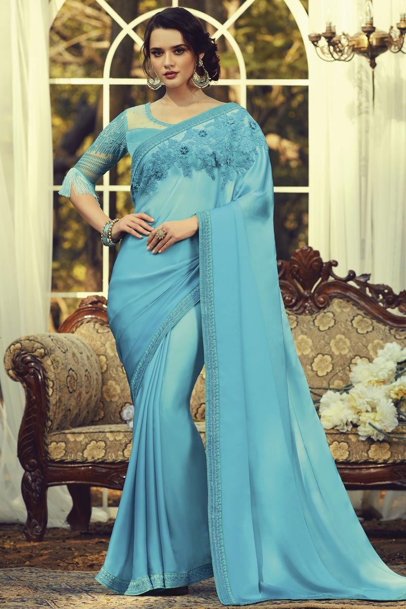 Light Cyan Color Party Style Art Silk Fabric Fancy Saree With Embroidered Blouse
