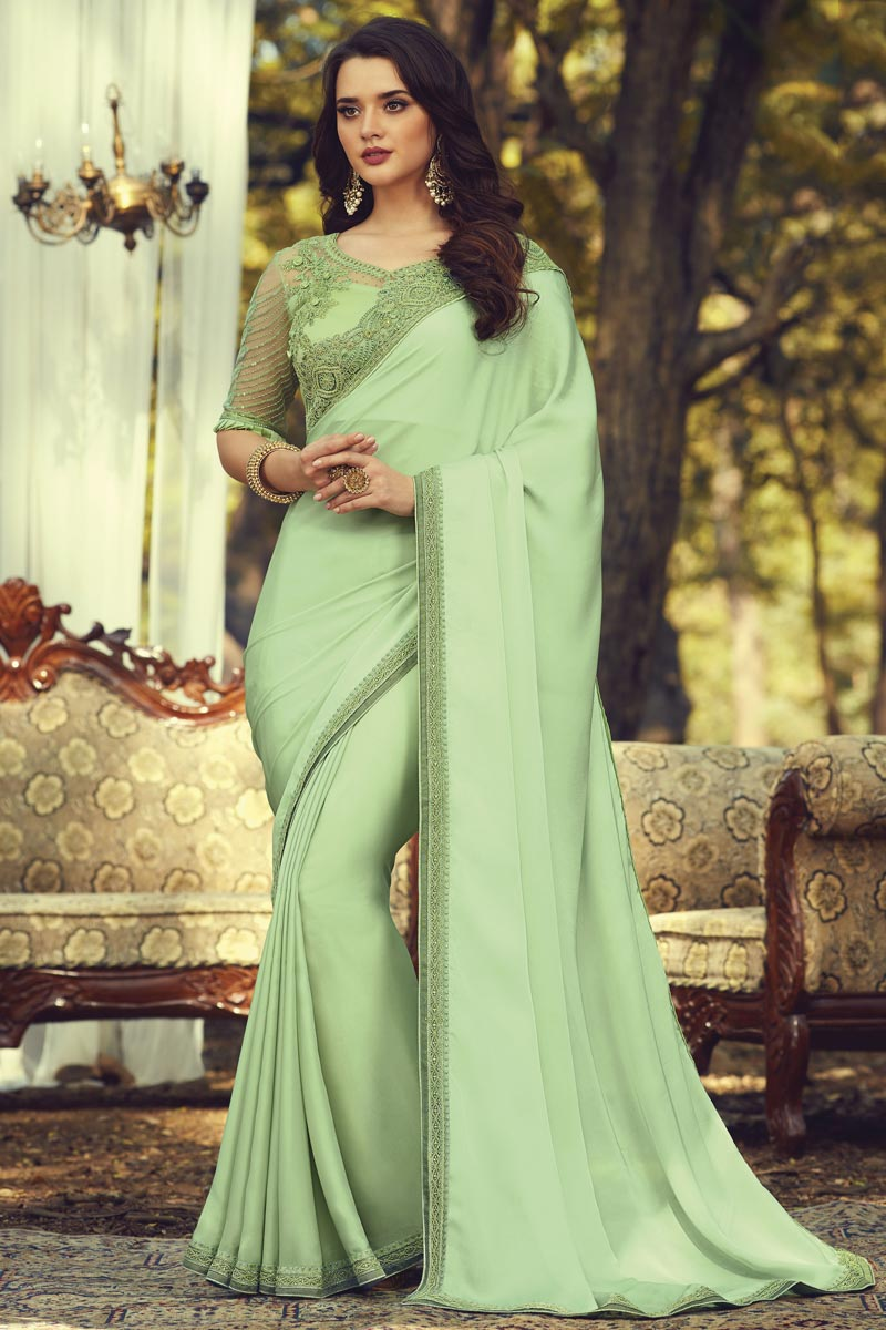 Party Style Sea Green Color Fancy Art Silk Fabric Saree With Embroidered Blouse