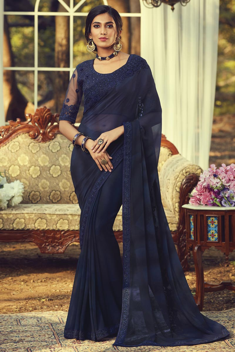 Party Style Navy Blue Color Fancy Saree With Embroidered Blouse In Georgette Fabric