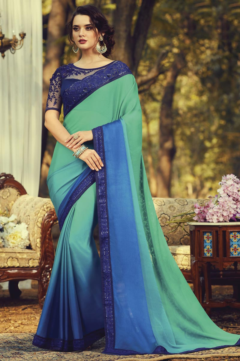 Party Style Fancy Sea Green Color Art Silk Fabric Saree With Embroidered Blouse