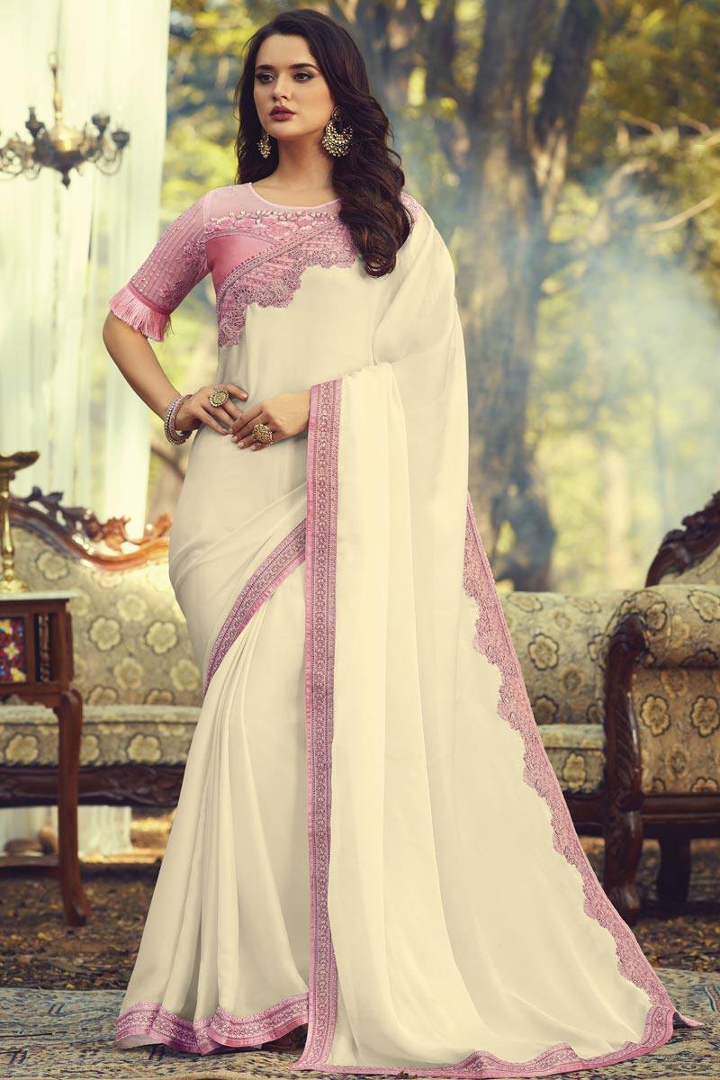 Party Style Fancy Art Silk Fabric Saree With Embroidered Blouse In Off White Color