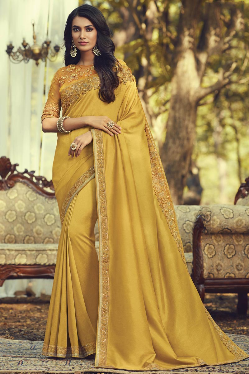Party Style Art Silk Fabric Trendy Saree With Embroidered Blouse In Yellow Color