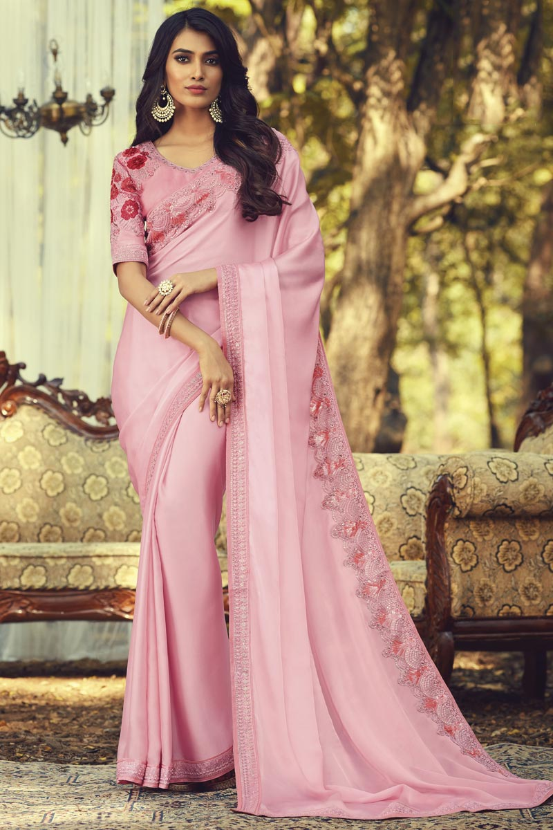 Pink Color Party Style Art Silk Fabric Trendy Saree With Embroidered Blouse