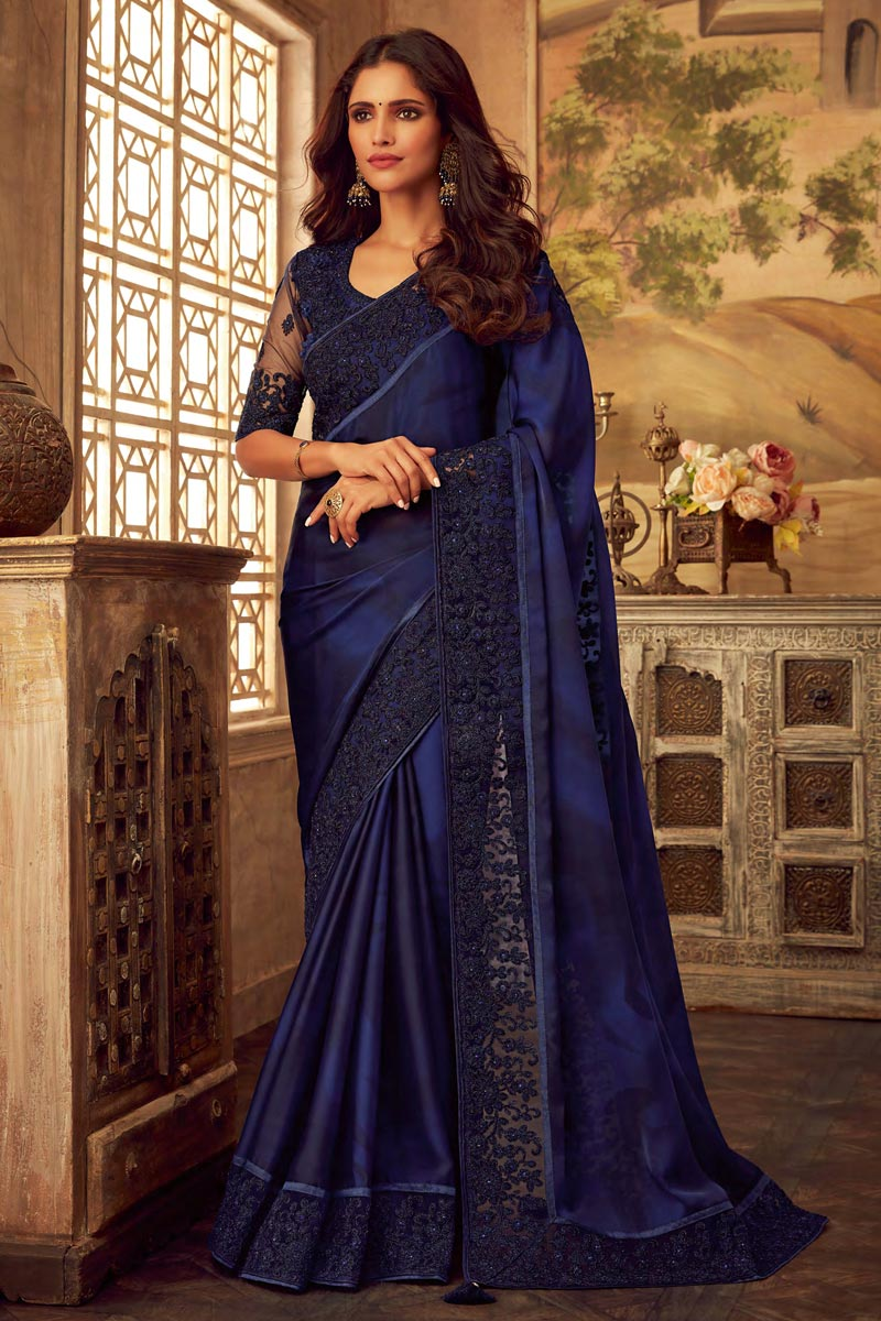 Party Style Navy Blue Art Silk Embroidered Border Work Saree With Fancy Blouse