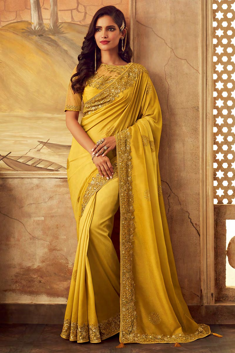 Yellow Party Wear Art Silk Embroidered Border Work Saree With Fancy Blouse