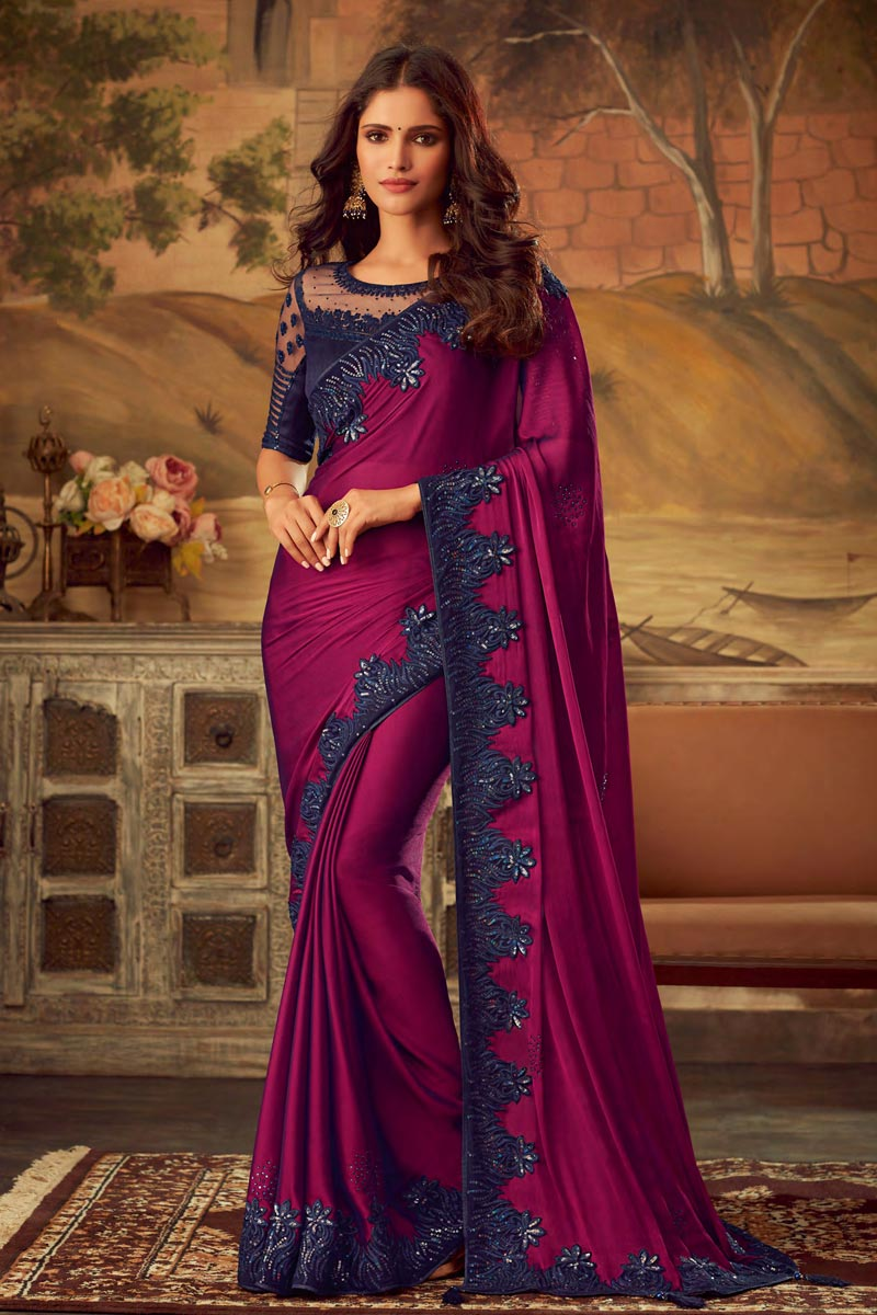 Art Silk Fancy Purple Party Wear Embroidered Border Saree With Designer Blouse