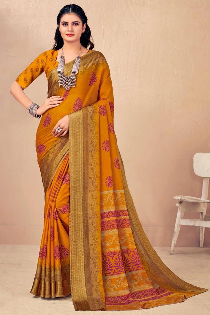 Mustard Color Regular Wear Chic Chiffon Fabric Printed Saree