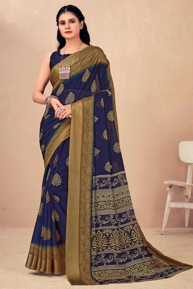 Regular Wear Chiffon Fabric Chic Navy Blue Color Printed Saree