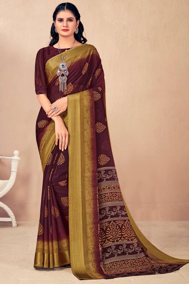 Regular Wear Chic Brown Color Printed Saree In Chiffon Fabric