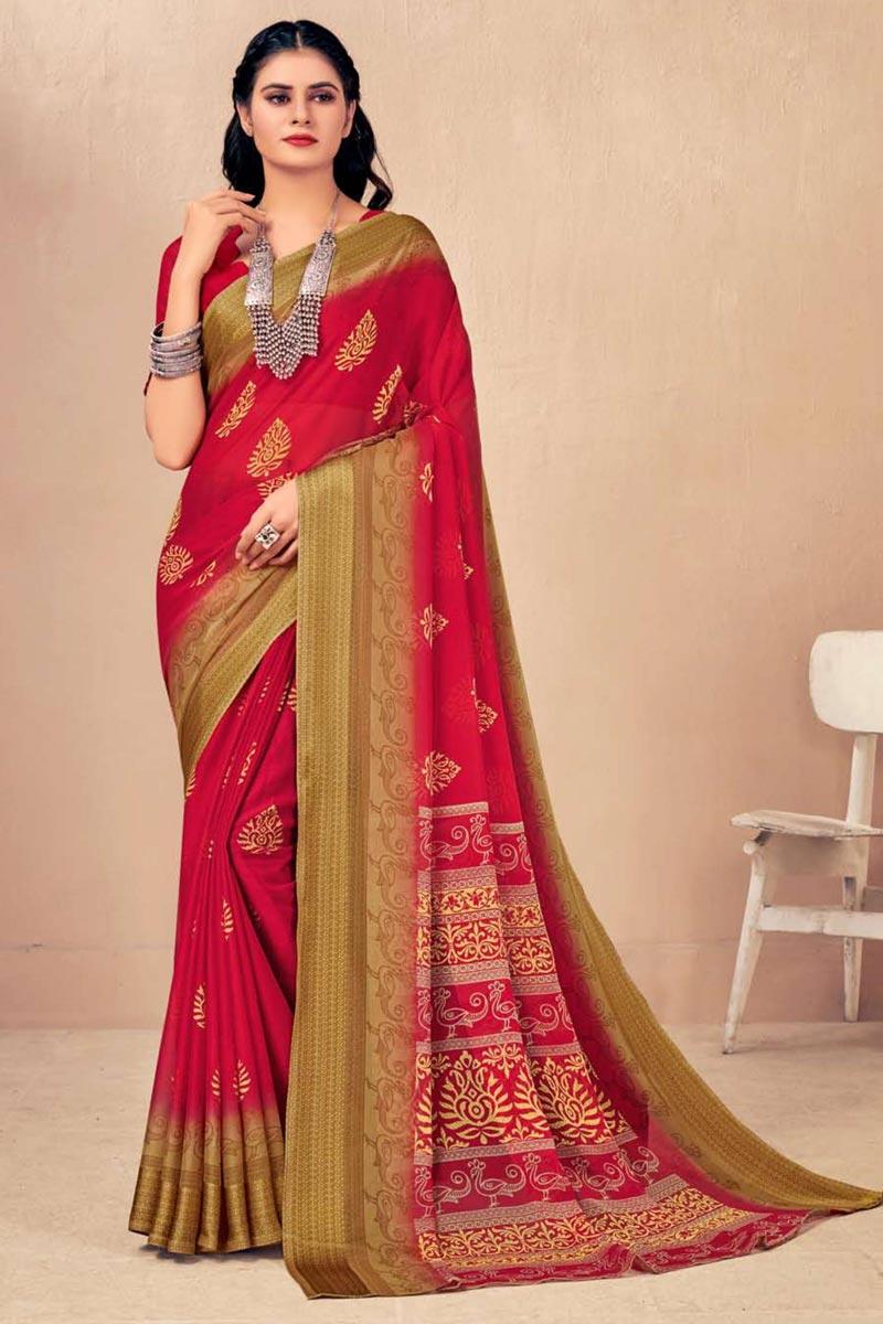 Chiffon Fabric Regular Wear Chic Printed Red Color Saree