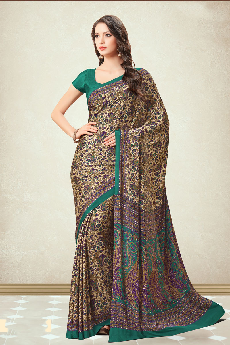 Cream Color Crepe Fabric Fancy Printed Office Wear Uniform Saree