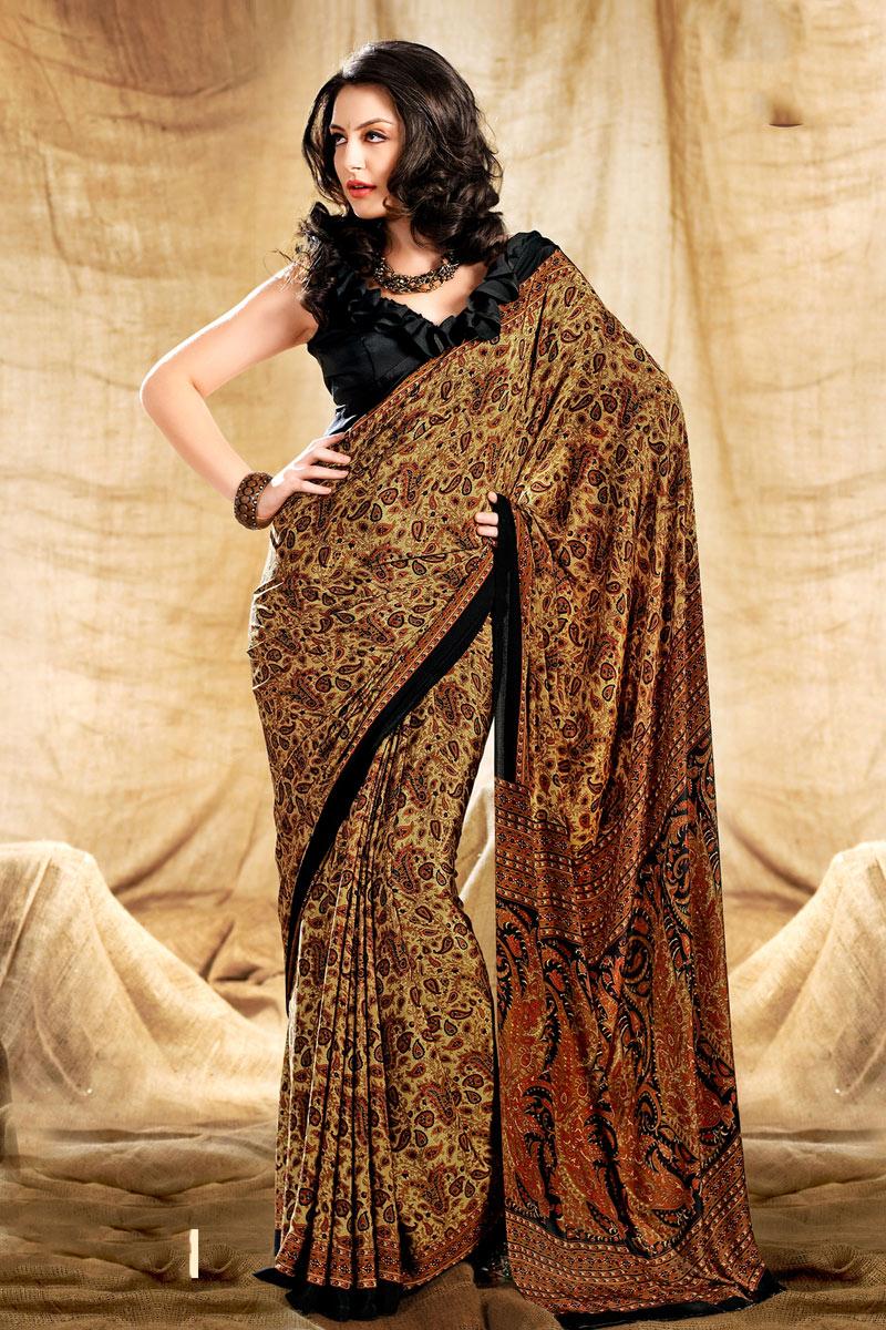 Cream Color Crepe Fabric Fancy Printed Daily Wear Uniform Saree