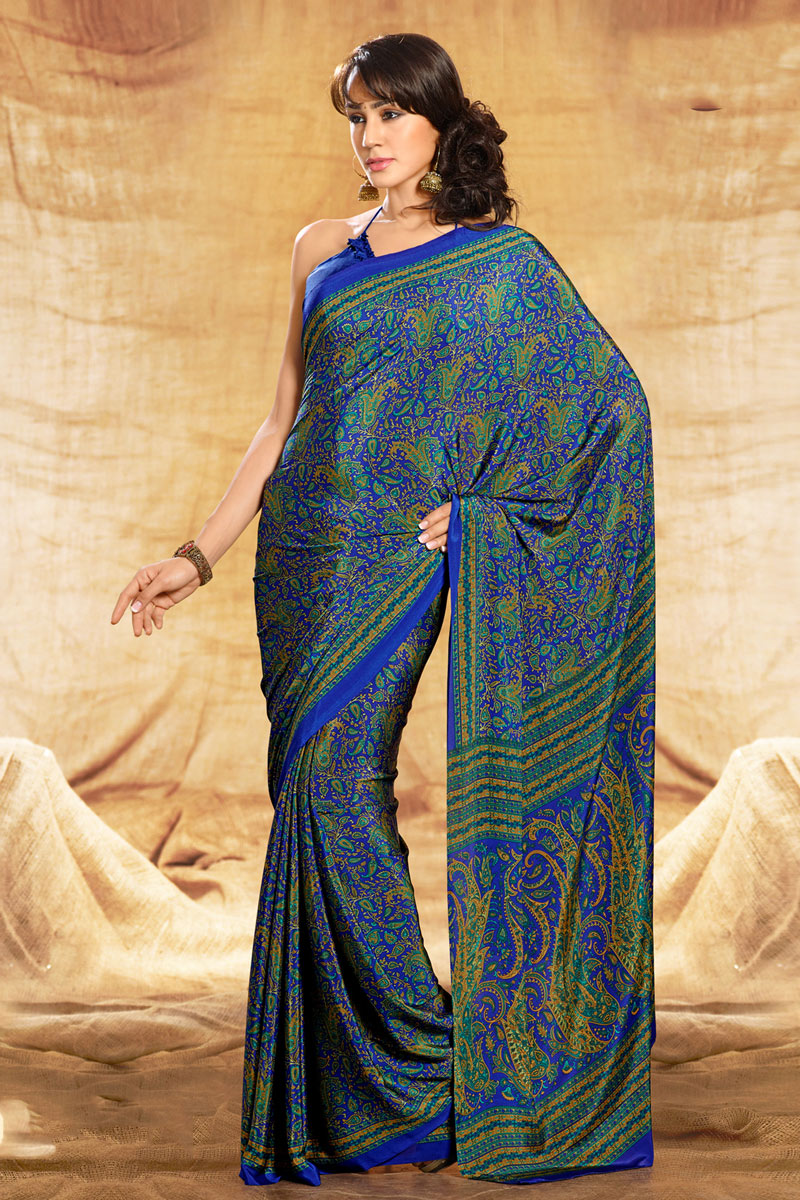 Blue Color Crepe Fabric Casual Wear Printed Uniform Saree