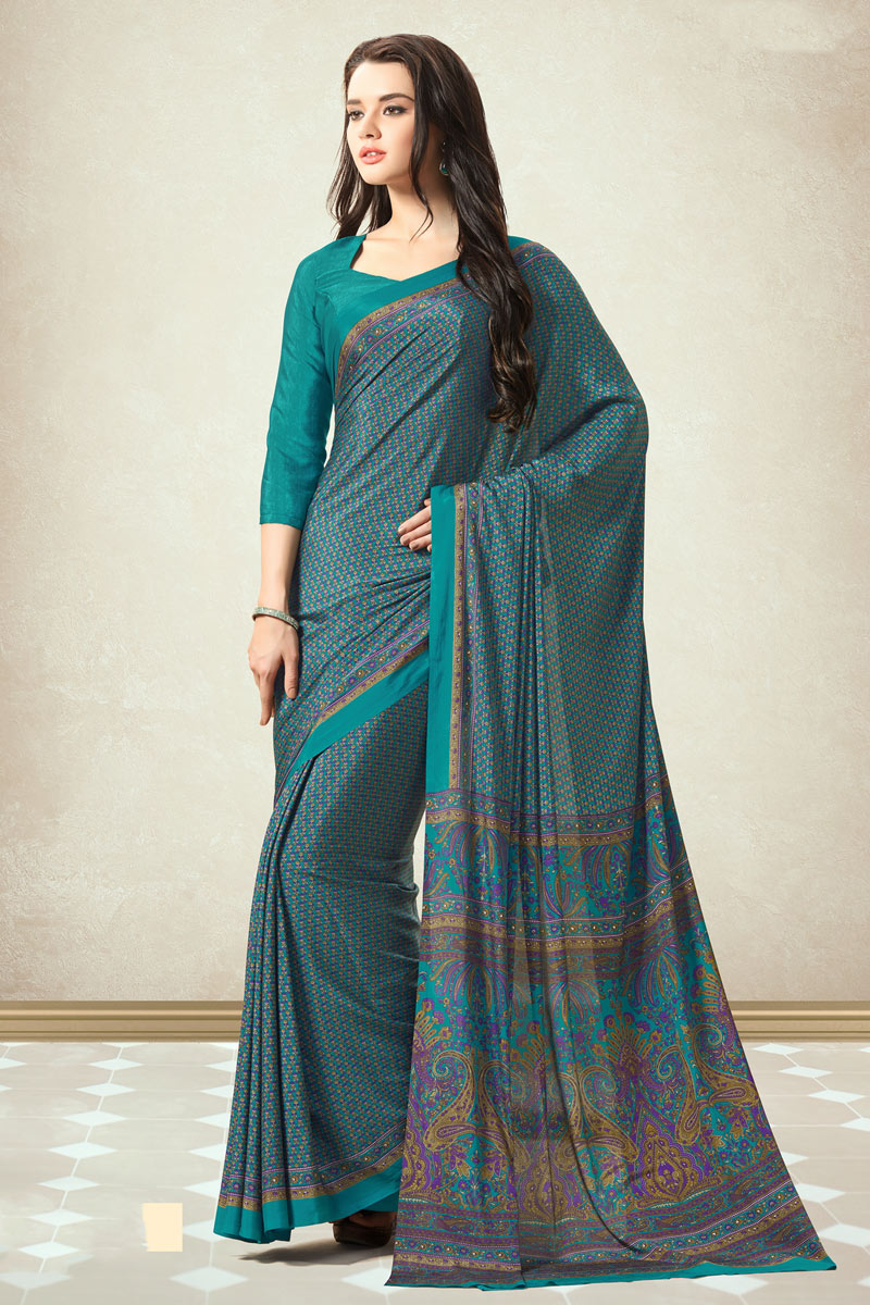 Dark Teal Color Crepe Fabric Printed Fancy Casual Wear Uniform Saree