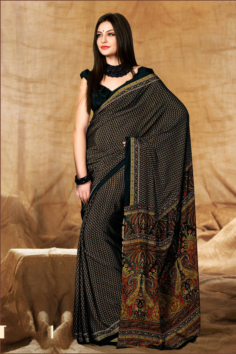 Black Color Simple Printed Uniform Saree In Crepe Fabric