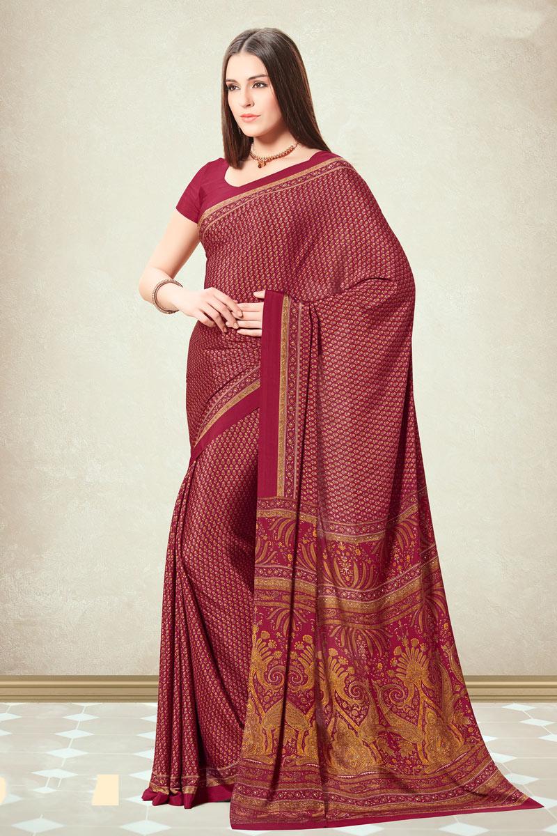 Crepe Fabric Casual Wear Fancy Printed Uniform Saree In Maroon Color