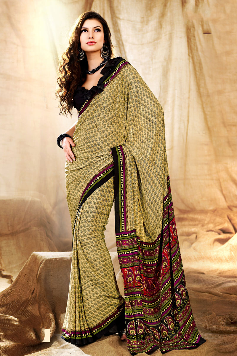 Casual Wear Yellow Color Printed Uniform Saree In Crepe Fabric