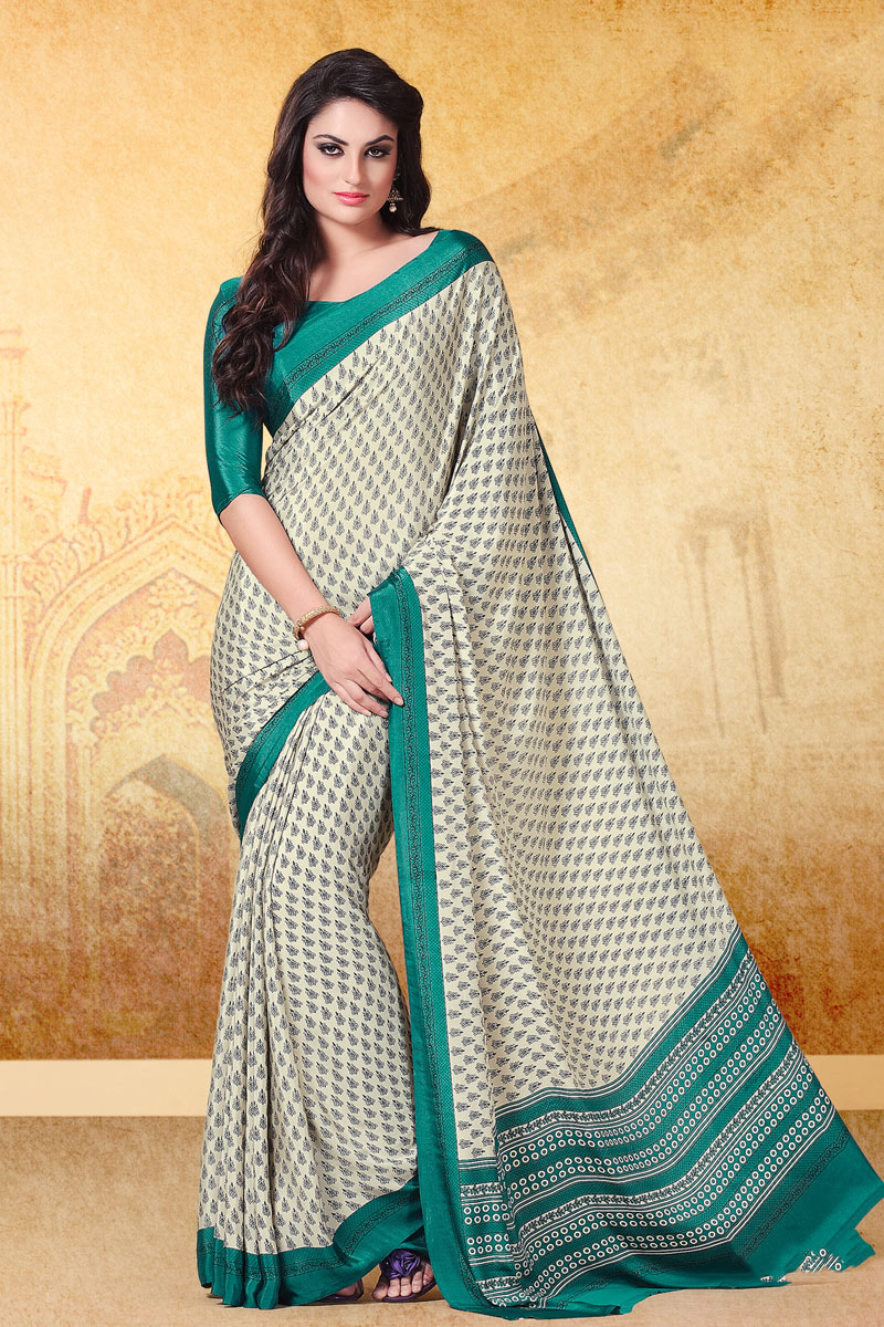 Beige Color Printed Daily Wear Crepe Fabric Uniform Saree With Blouse