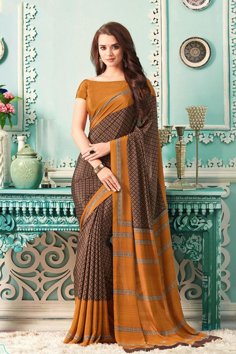 Brown Color Crepe Fabric Printed Uniform Saree