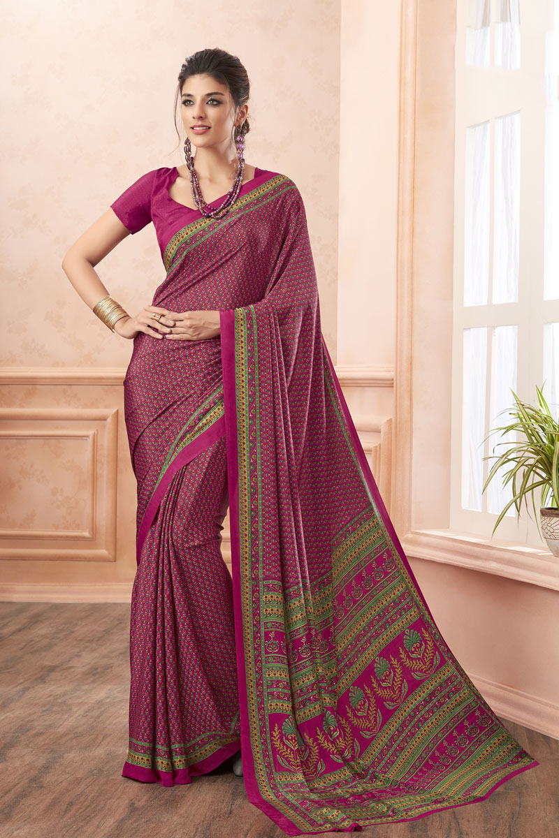 Rani Color Crepe Fabric Simple Printed Uniform Saree
