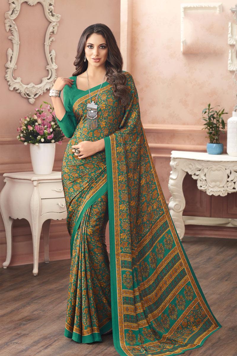 Green Color Crepe Fabric Printed Fancy Casual Wear Uniform Saree