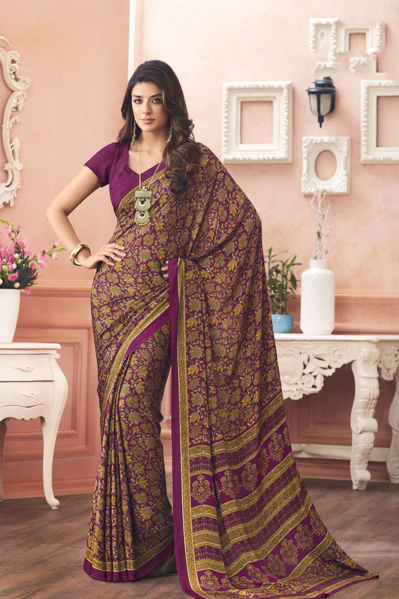 Crepe Fabric Regular Wear Uniform Saree In Purple Color With Print Designs