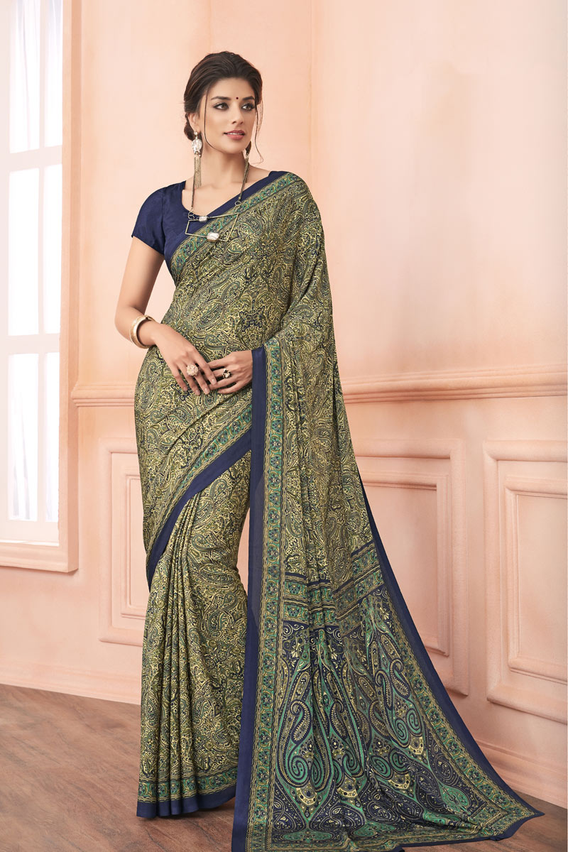Cream Color Crepe Fabric Daily Wear Uniform Saree With Print Work