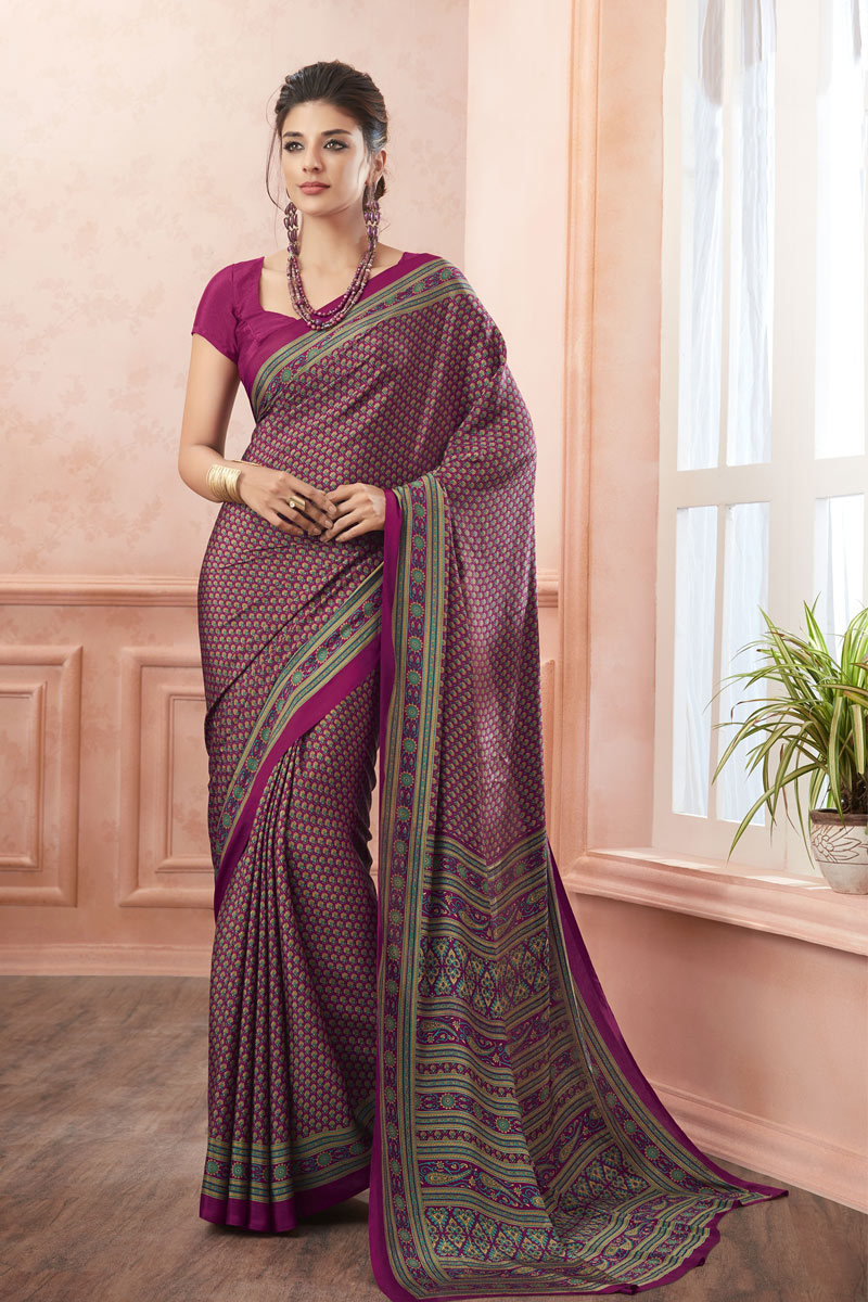 Purple Color Crepe Fabric Office Wear Printed Uniform Saree