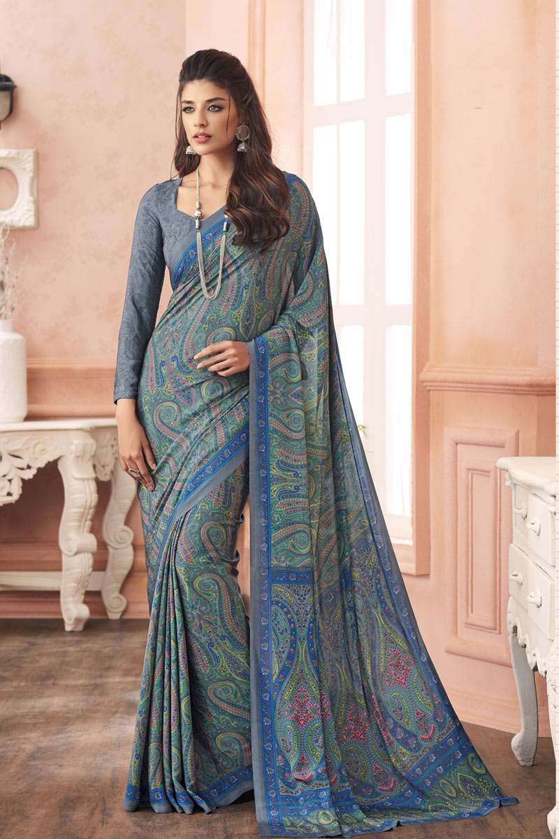 Casual Wear Multi Color Printed Uniform Saree In Crepe Fabric
