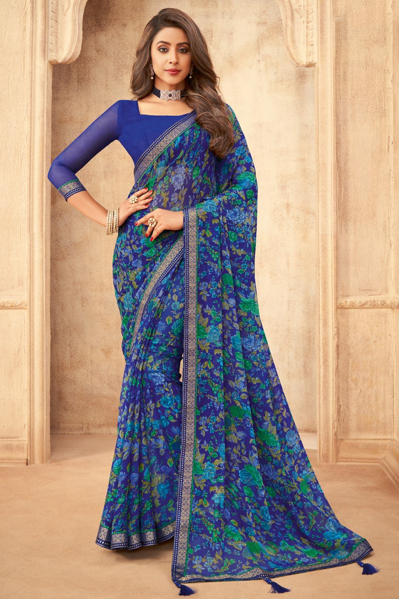 Chiffon Fabric Daily Wear Floral Printed Navy Blue Color Saree