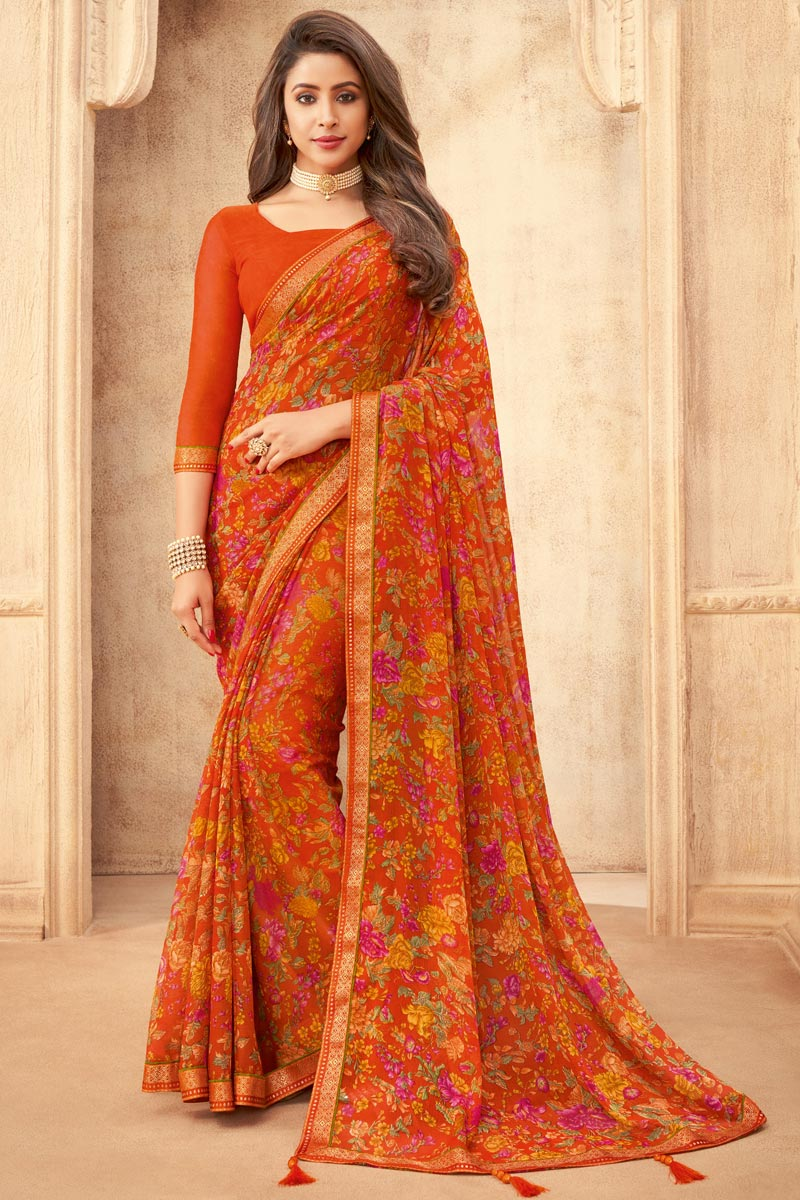 Chiffon Fabric Daily Wear Floral Printed Saree In Orange Color