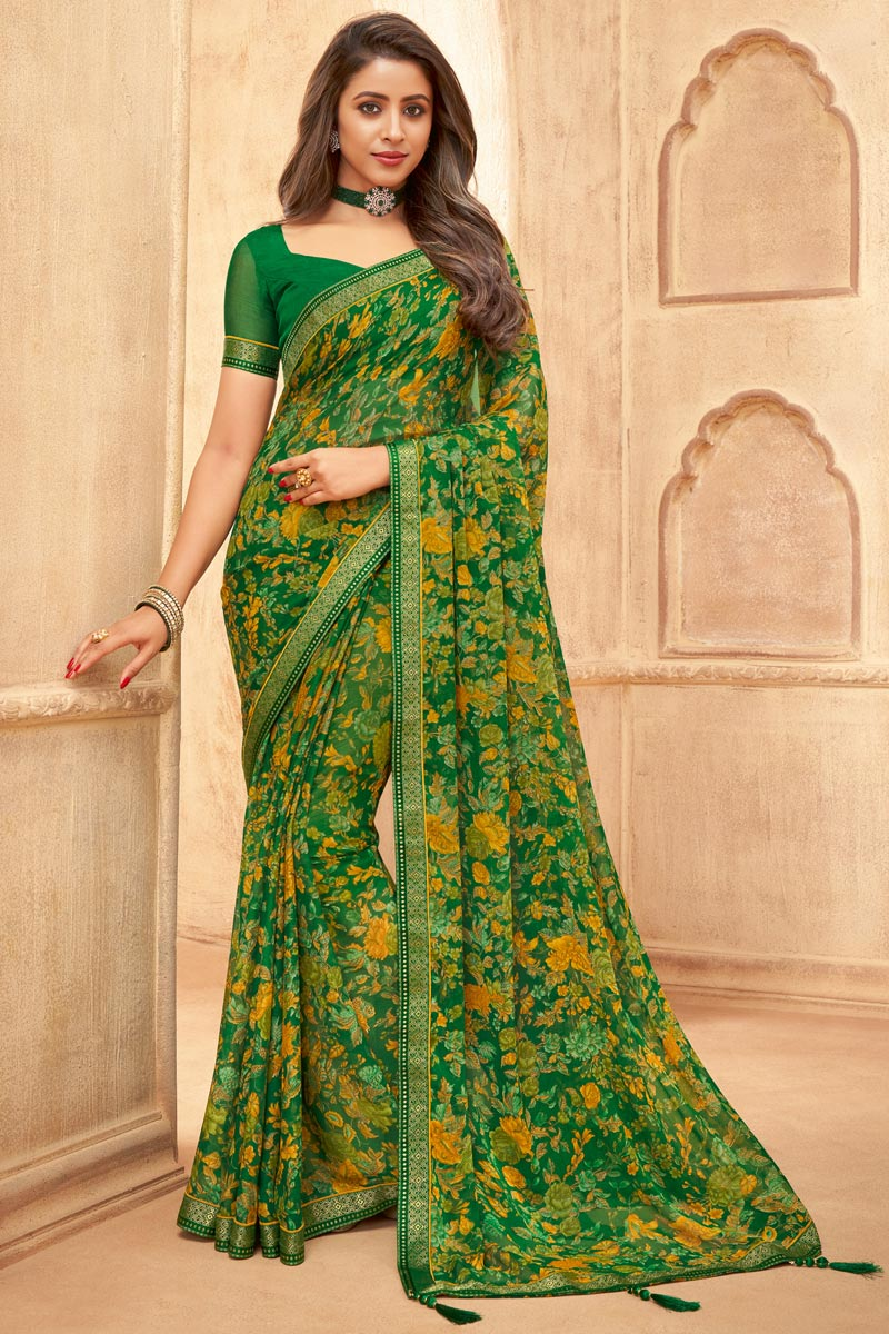 Green Color Chiffon Fabric Floral Printed Daily Wear Saree