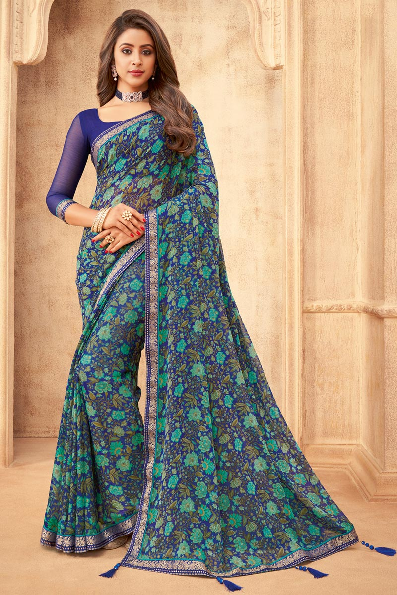 Daily Wear Chiffon Fabric Floral Printed Saree In Navy Blue Color