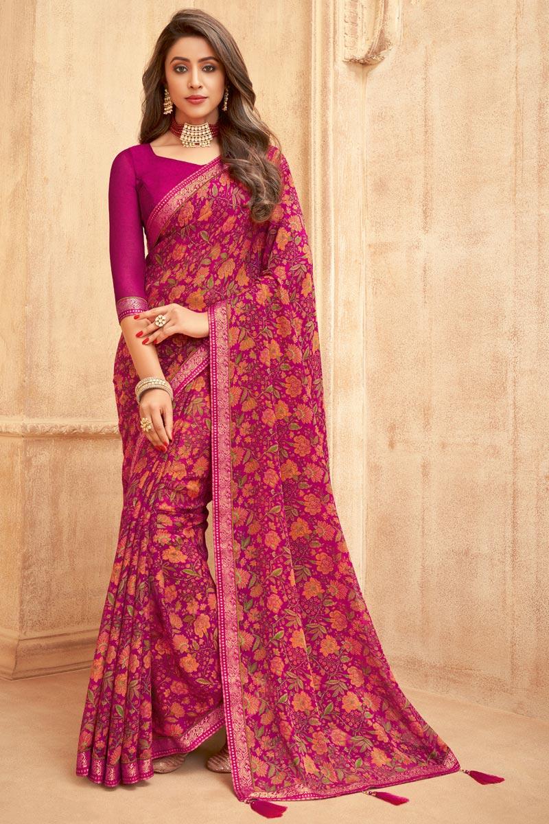 Chiffon Fabric Rani Color Daily Wear Floral Printed Saree