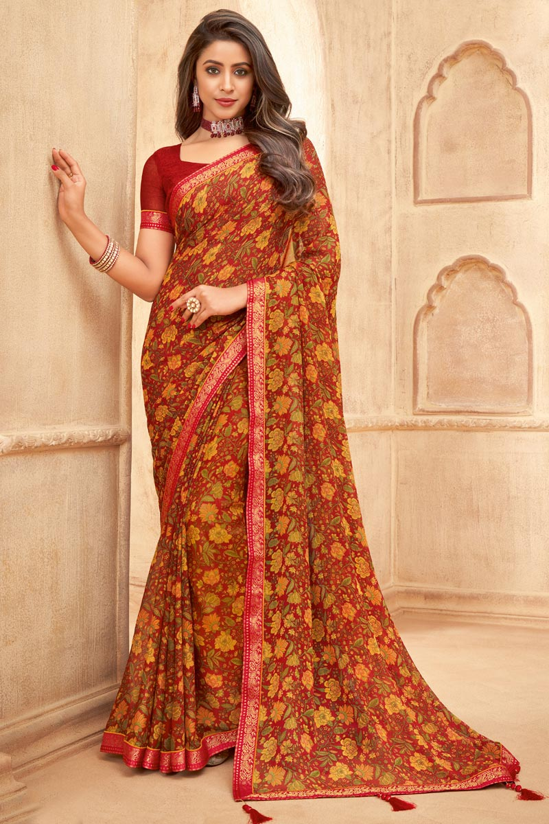 Red Color Floral Printed Daily Wear Chiffon Fabric Saree