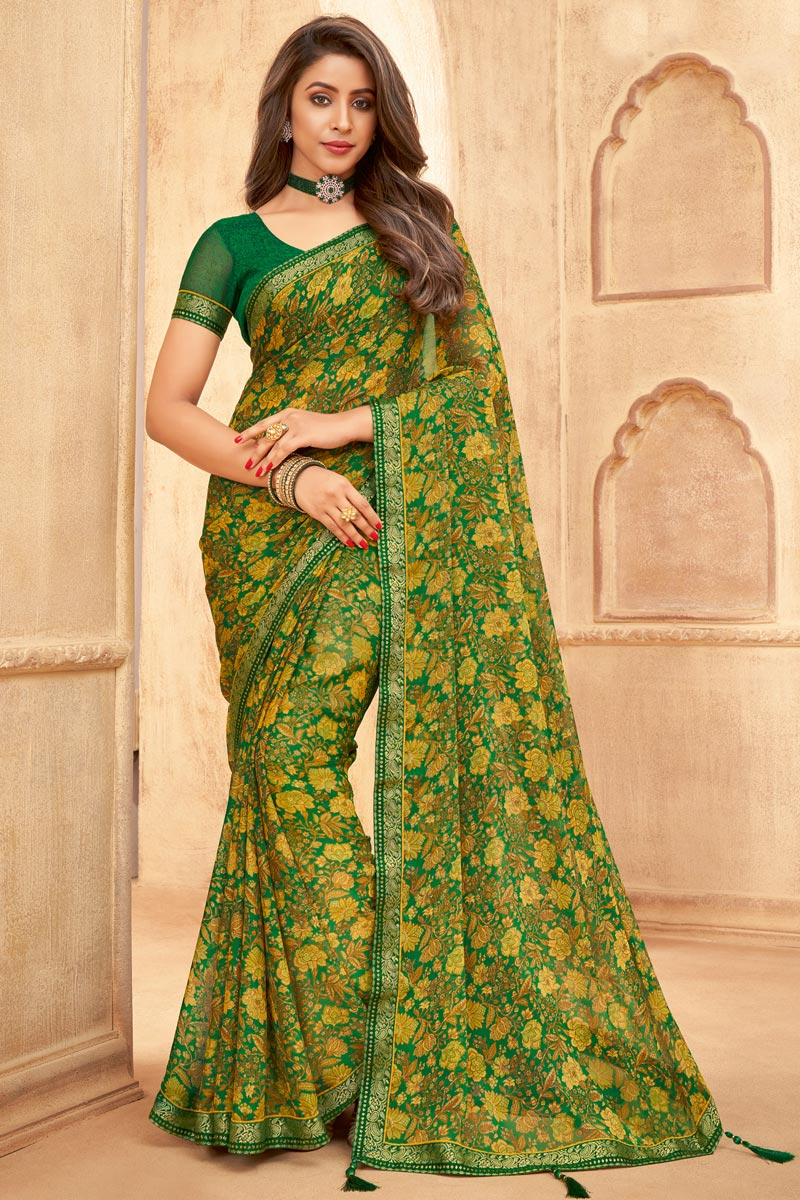 Green Color Daily Wear Chiffon Fabric Floral Printed Saree