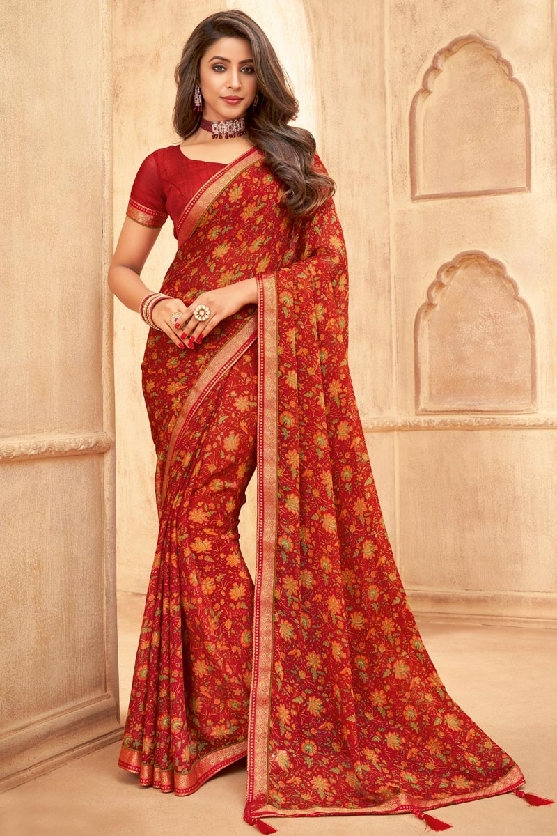 Chiffon Fabric Daily Wear Red Color Floral Printed Saree