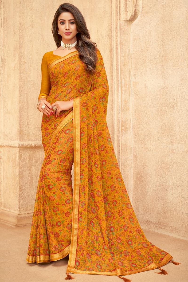 Chiffon Fabric Mustard Color Floral Printed Daily Wear Saree