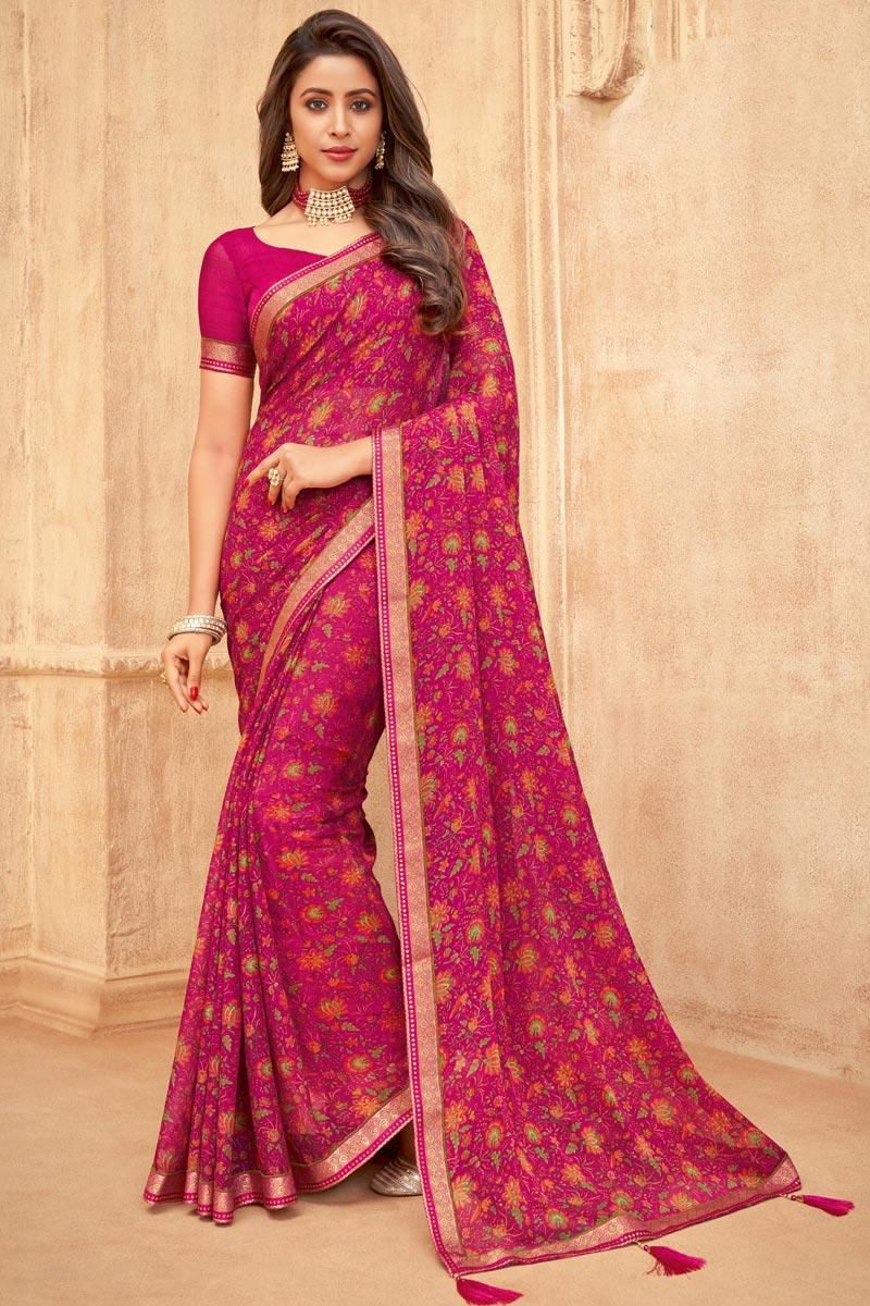 Chiffon Fabric Daily Wear Floral Printed Rani Color Saree