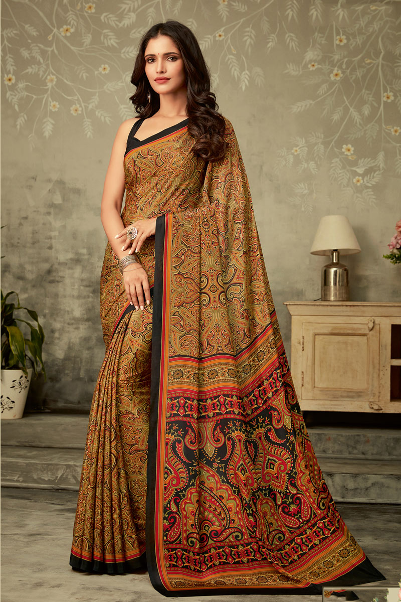 Crepe Fabric Coffee Color Printed Casual Wear Uniform Saree