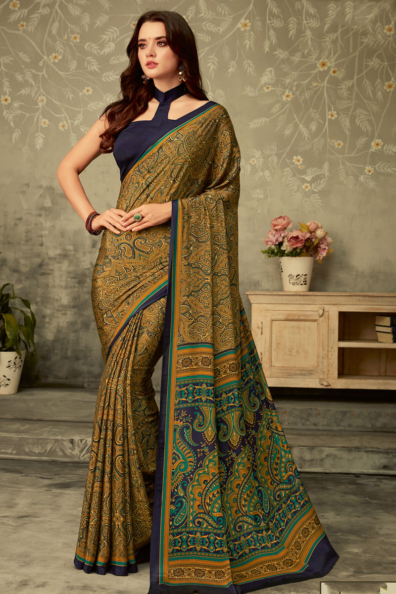 Printed Daily Wear Uniform Saree In Coffee Color Crepe Fabric