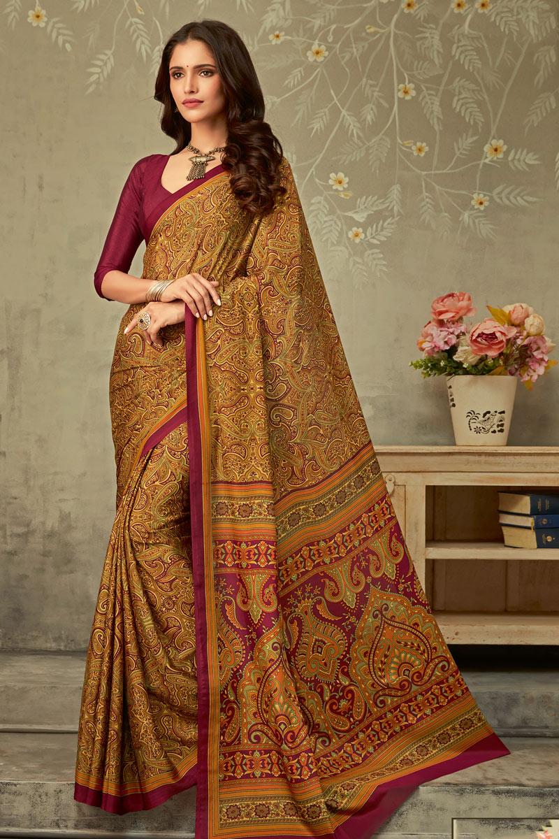 Printed Crepe Fabric Trendy Uniform Saree In Coffee Color