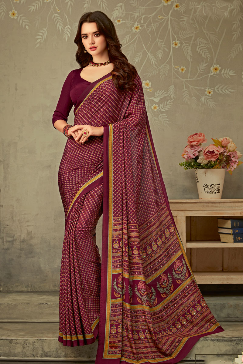 Burgundy Color Office Wear Uniform Saree In Crepe Fabric