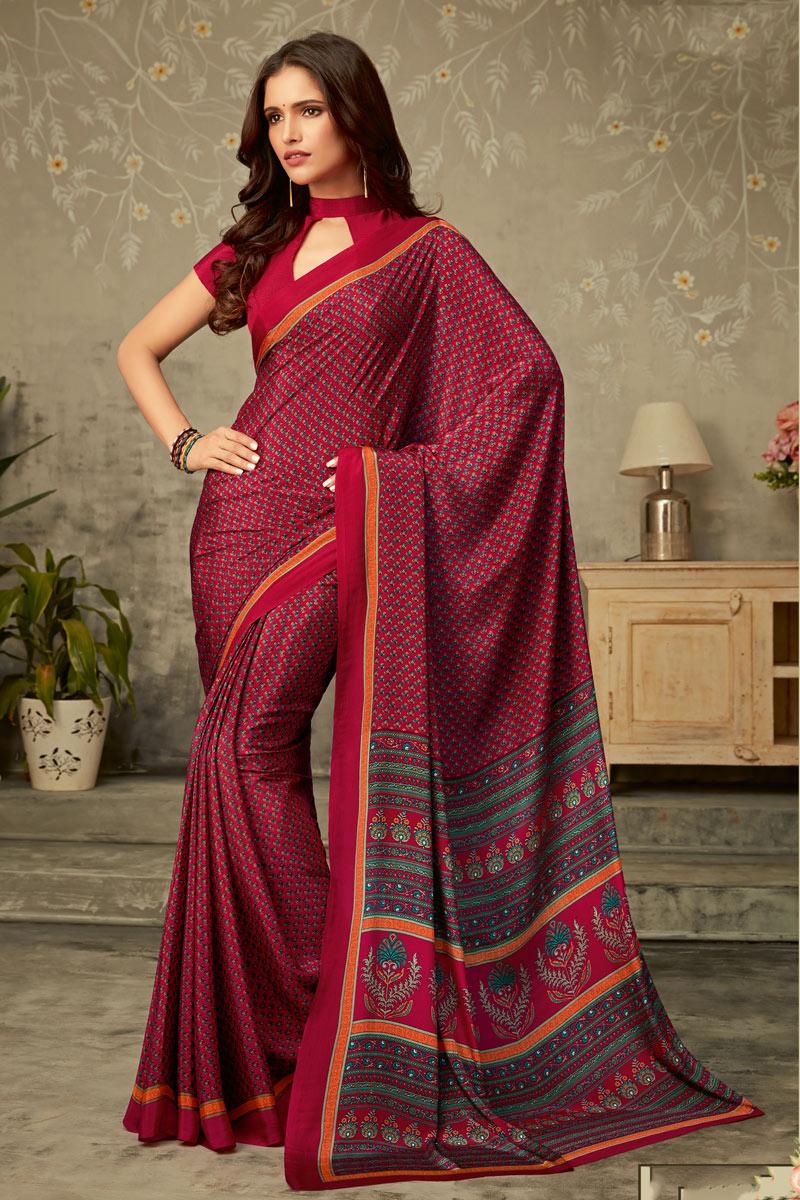 Crepe Fabric Regular Wear Uniform Saree In Dark Pink Color
