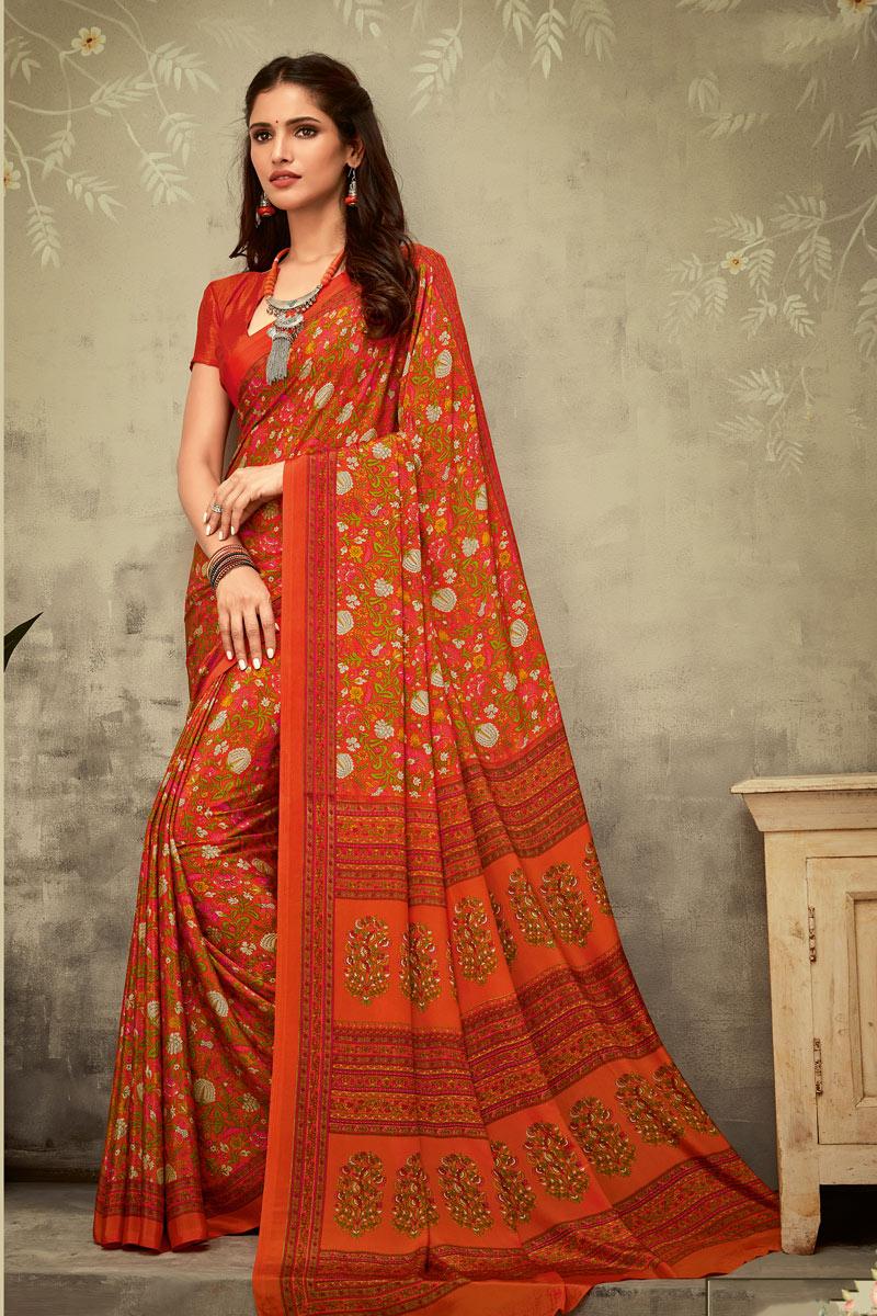 Orange Color Crepe Fabric Daily Wear Printed Uniform Saree
