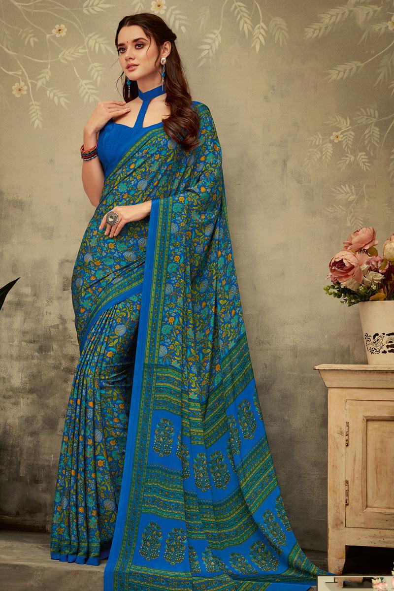 Casual Wear Blue Color Uniform Printed Saree In Crepe Fabric