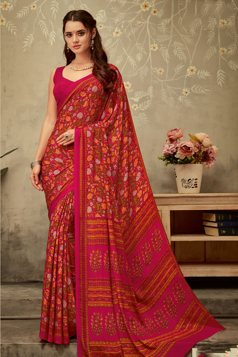 Pink Color Crepe Fabric Fancy Printed Office Wear Uniform Saree