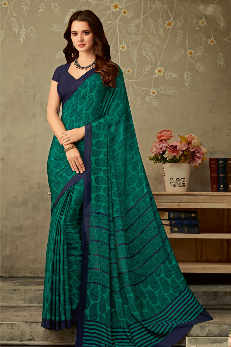 Crepe Fabric Printed Designs On Teal Color Office Wear Uniform Saree