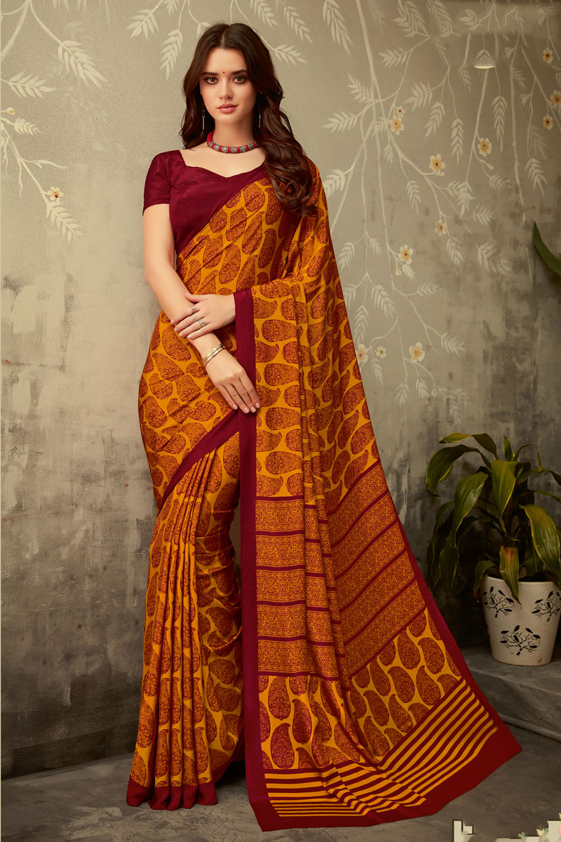 Rust Color Crepe Fabric Daily Wear Printed Uniform Saree